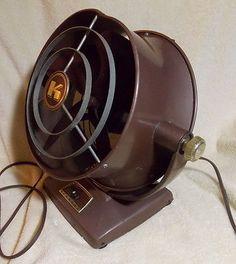 Vtg Kenmore Table/Floor Fan Brown 3 speed Industrial fan