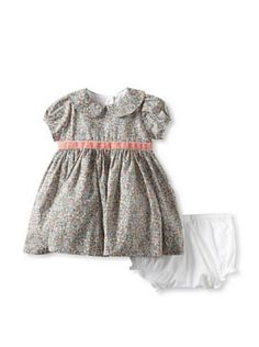 Baby CZ by Carolina Zapf: Girls Rachel Dress with Silk Tie (Emilias Flowers Tea Rose)