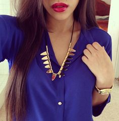 Beautiful Purple Blouse with Gold Spiked Statement Necklace