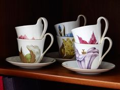 Beautiful Flora coffee cups from Royal Copenhagen