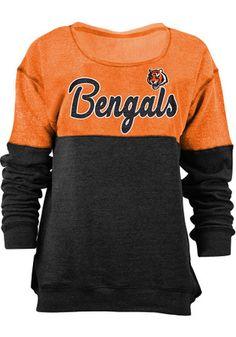 Cincinnati Bengals Womens Triblend Black Crew Sweatshirt