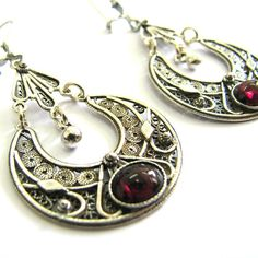925 Sterling Silver Filigree Ethnic  Hoop Earrings Decorated With Garnet Gemstones - Free Shipping ID1017 on Etsy, $63.85