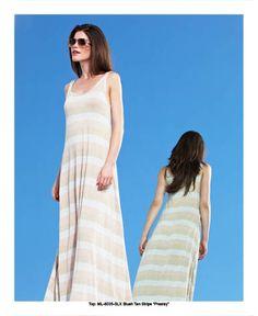 Presley Lurex Striped Maxi Dress in Blush Tan Stripe