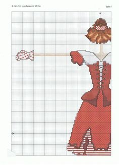 0 point de croix Lulu belle femme et coquelicots - girl and poppies part 2