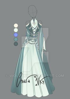 adoptable silver outfit closed by violetky- Anime Kimono, Anime Dress, Dress Drawing, Drawing Clothes, Outfit Drawings, Dress Sketches, Fashion Sketches, Anime Outfits, Cool Outfits