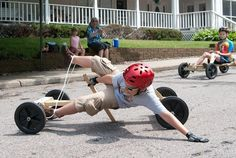 A driver tries to stay upright during the 2011 Raspberry Festival's Soap Box Derby.