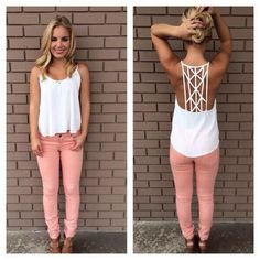 Cute Spring Outfit: White detailed back shirt, salmon pants, leather strappy shoes