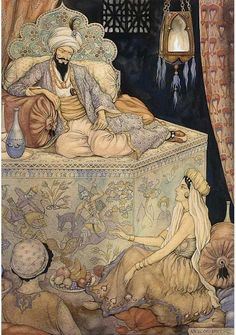 Anton Pieck (1895-1987): Arabian Nights. Shahrazad, the daughter of the grand vizier, tells her stories to King Shahryar - 1001 Nights, 1943