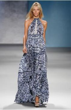 Derek Lams Satin Stripe Chiffon Halter Dress with Sea Snake Trim