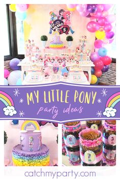 Violeta Glace 's Birthday / My Little Pony - Equestria Girls Party at Catch My Party Girls Birthday Party Themes, Unicorn Birthday Parties, Baby Birthday, Birthday Ideas, My Little Pony Party, Pinkie Pie, Twilight Sparkle, Fluttershy, Rainbow Dash