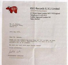 A rejection letter @U2 received from a record label in 1979. http://t.co/FdUHRYCM7X