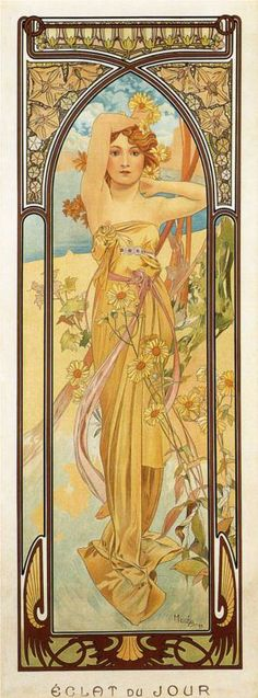 Day by Alphonse Mucha #art #nouveau #flowers #plants #female