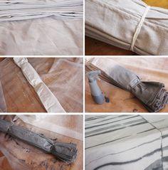 diy tie-dyed drop cloth tablecloth tutorial _ zebra pleated tie dye
