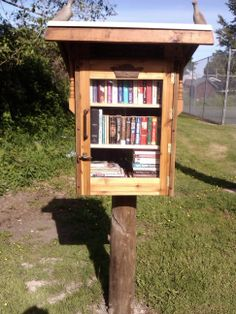 Rose Momsen. Point Roberts, WA.   Built from recycled materials by the Re-Store in Bellingham, WA, our FLL is a gift to the community of Maple Beach from the WCLS Friends of the Point Roberts Library in thanks for their support and donations to our library over the years.