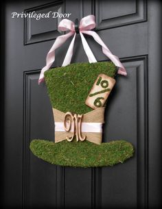 Alice in Wonderland Birthday Party Decor.  Alice in Wonderland Birthday Decorations.  Moss Mad Hatter Wreath.  ALL LETTERS.  NEW.