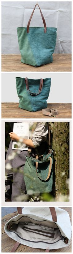 Tote leather canvas bag, Canvas shoulder bag, Canvas bag for party, Handmade shoulder bag - Green - My Favorites Bag For Women Leather Purses, Leather Handbags, Tote Handbags, Tote Bags, Purses For Sale, Purses And Bags, Leather Gifts, Men's Leather, Canvas Leather