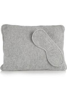 Waffle-knit cashmere pillow and eye mask set