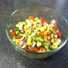 Grilled corn, avocado and chickpea salsa--thanks Guy Fieri!