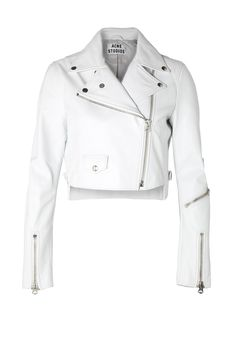 White Cropped Leather Biker Jacket by Acne