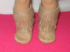 American Girl Doll Tan Fringe Boots by Girly Dezines on etsy.com