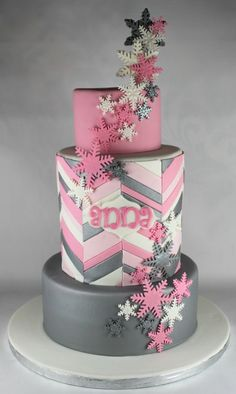 Girly Snowflake Theme Cake