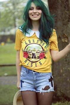 Love her hair, its like ...green,heehee Shop this look on Kaleidoscope (shirt, collar, shorts)  http://kalei.do/W4JMsRwZGpHfxPtf