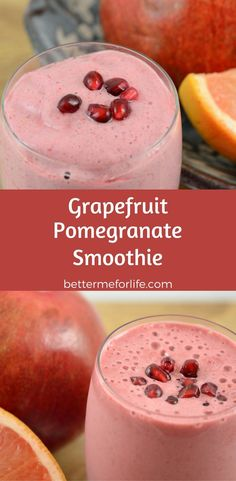 The flavors in this grapefruit pomegranate smoothie blend together to give it a tart, yet full-bodied flavor. It is also high in nutritional benefits. Find the recipe on BetterMeforLife.com