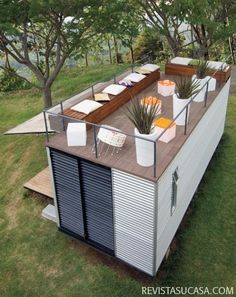 Plans To Design And Build A Container Home terasa-amenajata-pe-acoperisul-casei-de-vacanta-din-container.jpg - Who Else Wants Simple Step-By-Step Plans To Design And Build A Container Home From Scratch? Container Home Designs, Container Bar, Container Gardening, Tiny Container House, Container Office, Sea Container Homes, Storage Container Homes, Cargo Container, Container Store