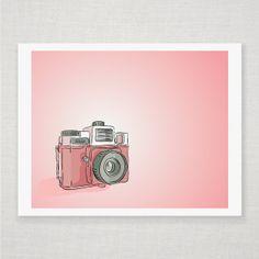 Spring Pink Holga Camera - Illustrated Print -