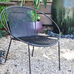 Modern outdoor hoop chair in black and black
