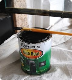 I USED BLACKING - NOT AS MANY FUMES Rustoleum High Heat paint - yes, I can paint my ugly brass fireplace doors! -question for pinners - would this replace the old fashioned blacking? Fireplace Doors, Fireplace Update, Paint Fireplace, Fireplace Remodel, Fireplace Inserts, Fireplace Surrounds, Fireplace Trim, Fireplace Makeovers, Fireplace Ideas