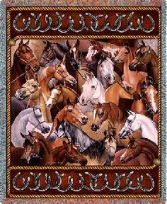 """Bridled #Horses Woven #Tapestry Throw - www.MyAnimalBlankets.com - An entire herd of fantastically-detailed horses comes to vivid life on this amazing tapestry throw blanket. Measuring 54"""" x 70"""" and woven from a variety of 100% cotton threads, it's made for years of long life in the bedroom, family room, or anywhere else. An instant family heirloom!"""