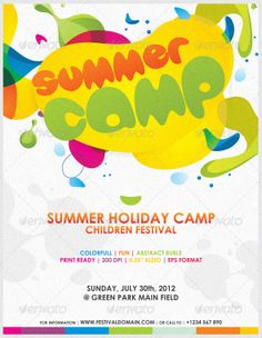 Buy Colorfull Summer Camp Fest Flyer by Mousecow on GraphicRiver. This is a colourfull poster for any kind event of children and kids festival. Summer Camp Activities, Summer Camps For Kids, Summer Kids, Flyer Design Templates, Flyer Template, Invitation Templates, Invitation Design, Free Summer, Summer Art