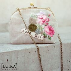 Linen handbag with apliqué, hanmade flowers, lace, sequins and lettering (one of a kind) 18cm x 22cm x 6cm, chain - 95cm 37€+PP info@lukamoda.com  photo: Juraj Molcak - www.molcak.com PostPro: LU:KA Cottage Chic, Fairy Tales, Upcycle, Recycling, Coin Purse, Sequins, Lettering, Wallet, Chain