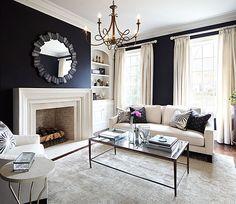 Laura Hay Decor Design - living rooms - black walls, black wall color, hardwood floors, oatmeal colored rug, gold chandelier, ivory sofa, co...