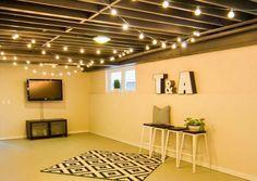 Hang String Lights Cheap Basement Remodel, Basement Makeover, Basement Renovations, Home Remodeling, Basement Storage, Basement Bars, Walkout Basement, Basement Designs, Dark Basement