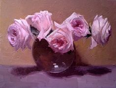 Pink-Hearted Roses by Dennis Perrin Oil ~ 14 x 18