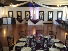 A black and purple wedding can still look bright. Ceiling drapery has an elegance to it. Check out that dance floor at Casa Bonita in Fountain Valley.  Casa de Lago Events. #wedding #affordableweddingvenues
