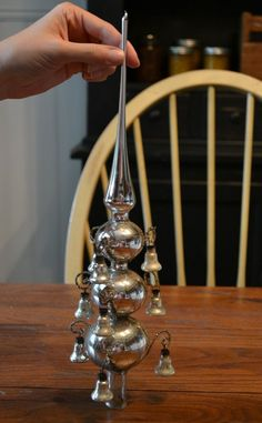 Rare antique wired mercury glass Christmas tree topper bells vintage ornament