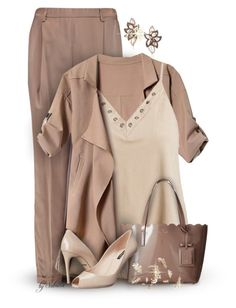 """""""The Hue - Warm Taupe"""" by xiandrina ❤ liked on Polyvore featuring Brunello Cucinelli, Sans Souci, Kate Spade, Dolce&Gabbana and LE VIAN"""