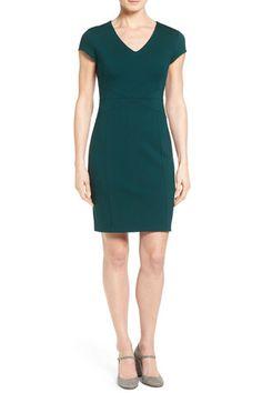 Seamed V-Neck Ponte Sheath Dress