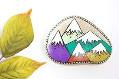 Mountain Painted Rock, Medium Hand-Painted Stone, Painted Mountains, Wishing…