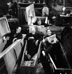 Vincent Price, Peter Lorre, Basil Rathbone, and Boris Karloff on the set of 'The Comedy of Terrors'.