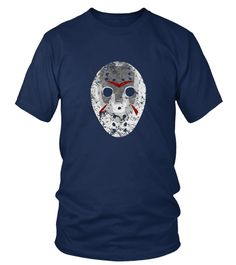 04002 Friday 13TH Jason Hockey Mask Halloween Tee T-shirt Sweatshirt Pullover Hoodie (Round neck T-Shirt Unisex - Navy) #quotes #science #nature hockey quotes, hockey memes, hockey training, back to school, aesthetic wallpaper, y2k fashion