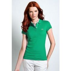 Women Polo Shirt Short Sleeve, Green Color