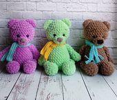 FREE crochet bear pattern Free amigurumi bear pattern from plush yarn Easy Amigurumi Pattern, Amigurumi Free, Crochet Patterns Amigurumi, Amigurumi Doll, Crochet Toys, Crochet Birds, Knitted Dolls, Crochet Animals, Crochet Bear Patterns