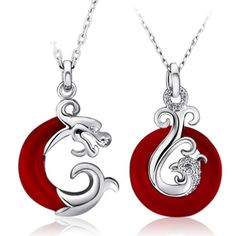 Dragon and Phoenix sterling silver love couple necklace set - $68
