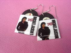 michael jackson, bad, vinyl record miniature, earrings. $13.00, via Etsy.
