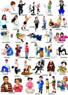 Action verbs / action words English grammar lesson PDF Learning about aaction verbs - action words Every sentence, no matter how small must contain a verb. You can even make a one-word sentence with English Grammar Pdf, English Verbs, Kids English, English Tips, English Language Learning, English Writing, English Lessons, English Vocabulary, Teaching English