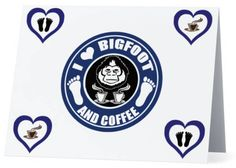 I Love Bigfoot and Coffee Bigfoot Stationary Note Cards set